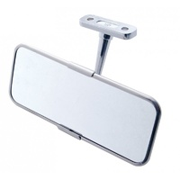 "Universal 2.5"" x 6"" Rear View Mirror with Stainless Steel Rim and Backing Plate"